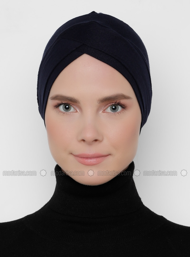 Navy Blue - Plain - Bonnet - Bone