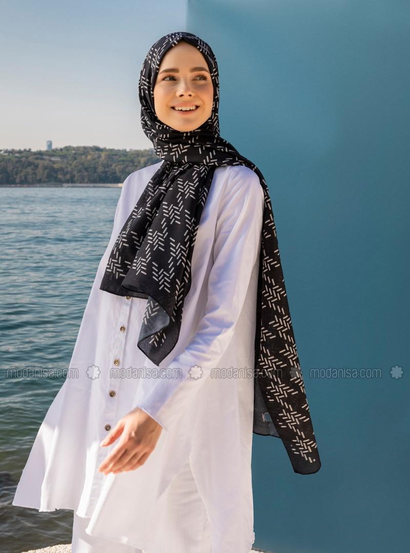 Multi - Black - Printed - Shawl - Şal