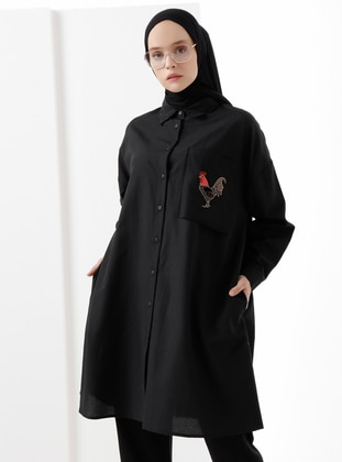 Black - Point Collar -  - Tunic
