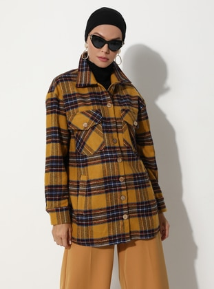 Mustard - Checkered - Unlined - V neck Collar -  - Jacket