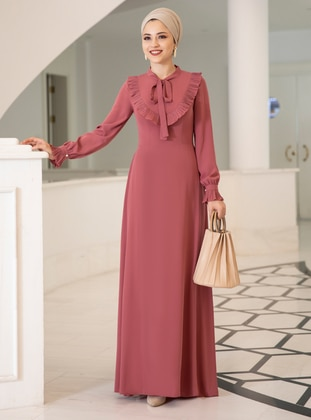 Dusty Rose - Fully Lined - Crew neck - Crepe - Muslim Evening Dress