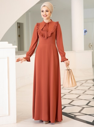 Terra Cotta - Fully Lined - Crew neck - Crepe - Muslim Evening Dress