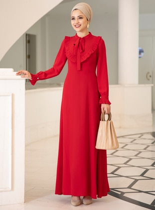 Red - Fully Lined - Crew neck - Crepe - Muslim Evening Dress