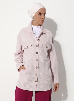 Pink - Checkered - Unlined - V neck Collar - - Jacket