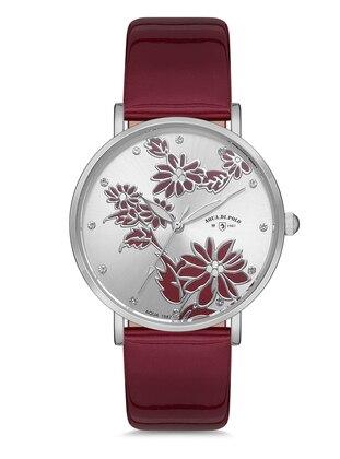 Maroon - Silver tone - Watch