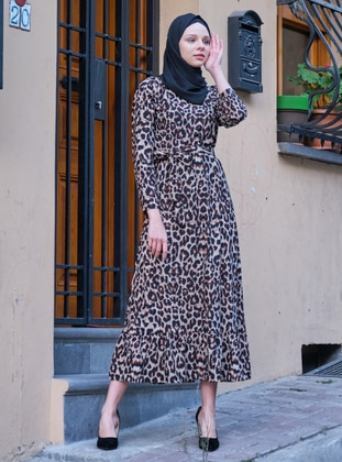 Mink - Leopard - Crew neck - Unlined - Dress