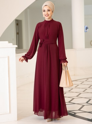 Maroon - Fully Lined - Crew neck - Chiffon - Muslim Evening Dress - DressLife