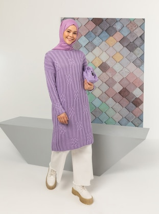 Lilac - Crew neck - Knit Tunics