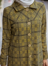 Mustard - Plaid - Unlined - Point Collar -  - Topcoat
