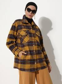 Mustard - Checkered - Unlined - V neck Collar - - Jacket