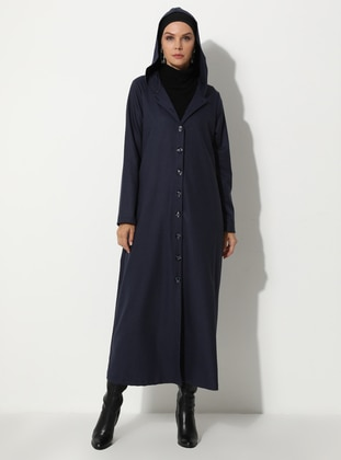 Navy Blue - Multi - Unlined - - Coat
