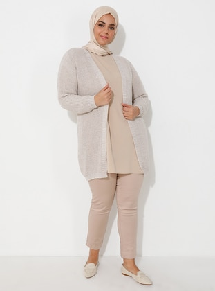 Beige - Unlined - Acrylic -  - Wool Blend - Knit Cardigans