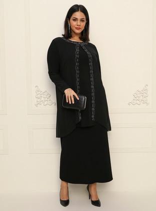Black - Plus Size Evening Tunics - Havva Ana