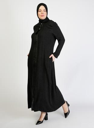 Anthracite - Crew neck - Unlined - Plus Size Abaya