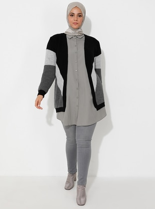 Gray - Black - Unlined - Acrylic -  - Wool Blend - Knit Cardigans