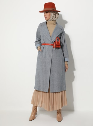 Blue - Fully Lined - V neck Collar -  - Coat