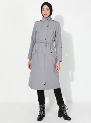 Gray - Fully Lined - Polo neck - Trench Coat