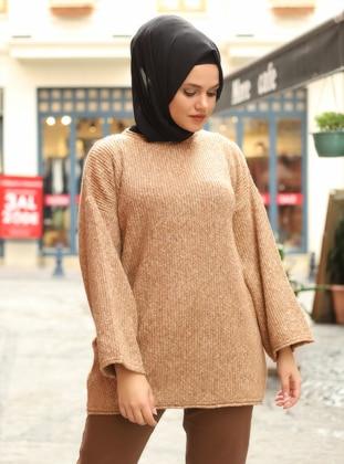 Camel - Crew neck - Unlined - Knit Tunics