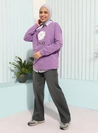 Lilac - Crew neck - - Tunic