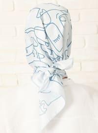 Baby Blue - Printed - Twill - Scarf