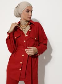 Red - Unlined - - Suit