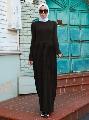 Black - Crew neck - Acrylic -  - Knit Dresses
