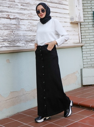 Black - Unlined - Denim -  - Skirt