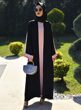 Powder - Black - Unlined - Crew neck - Abaya