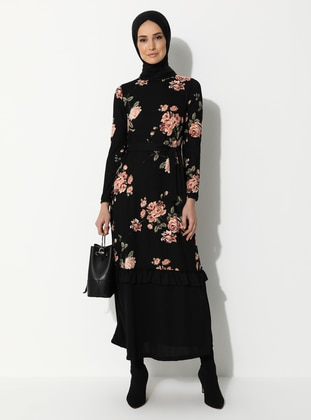 Black - Salmon - Floral - Crew neck - Dress