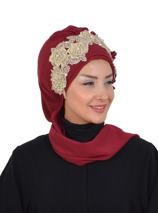 Maroon - Plain - Patterned Side - Instant Scarf