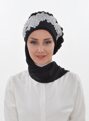 Black - Plain - Patterned Side - Instant Scarf