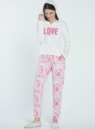 Ecru - Fuchsia -  - Pyjama Set