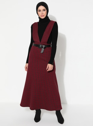 Maroon - Houndstooth - Crew neck - Unlined - Dress