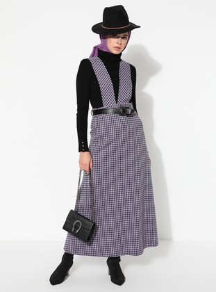 Lilac - Houndstooth - Crew neck - Unlined - Dress