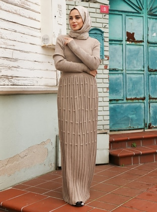 Beige - Unlined - Crew neck - Acrylic -  - Knit Dresses