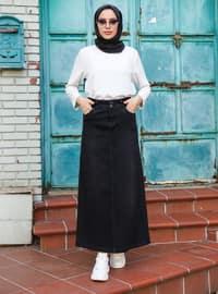 Black - Unlined - Denim - - Skirt