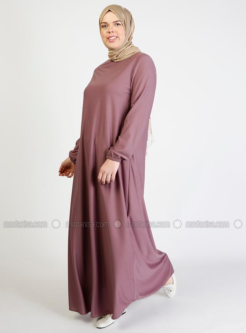 Lilac - Hac ve Umre - Crew neck - Unlined - Dress