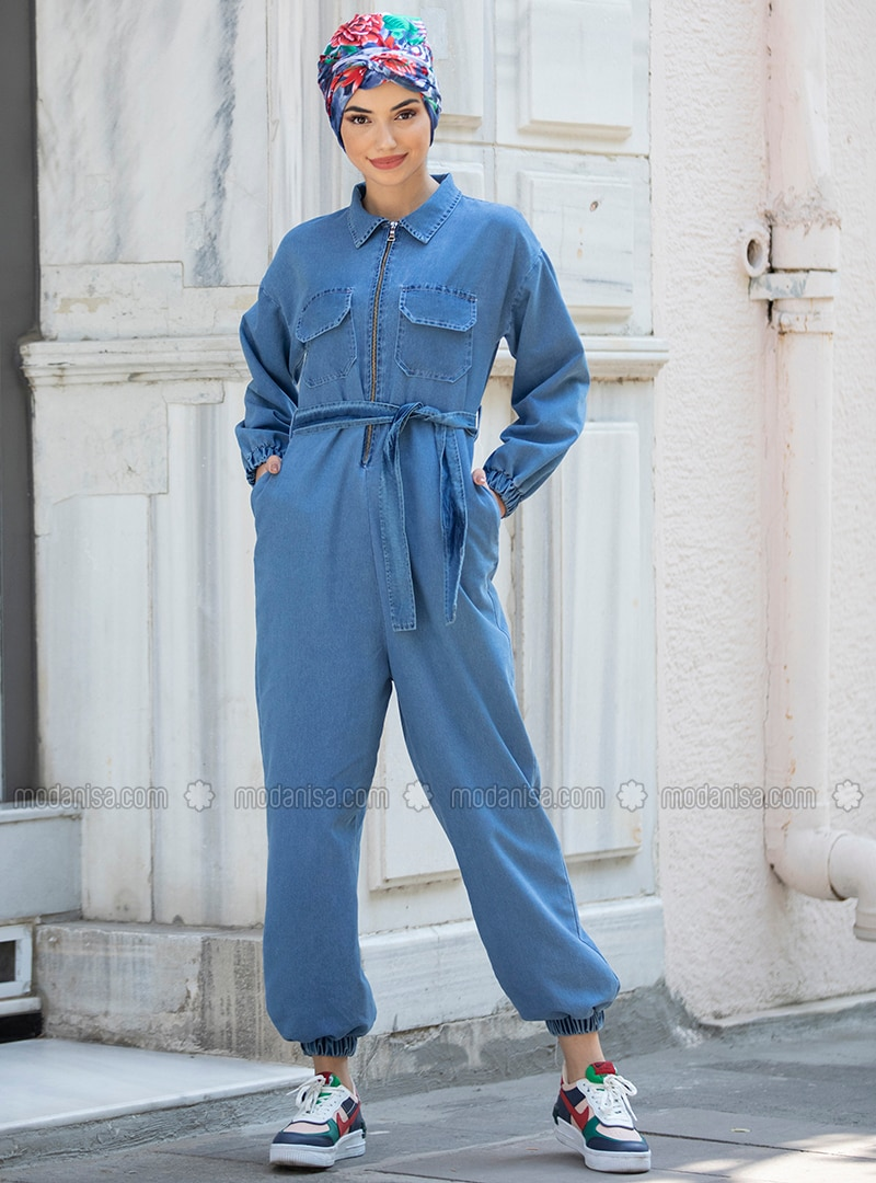 Blue - Unlined - Point Collar - Denim - - Jumpsuit