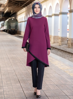 Unlined - Plum - Crew neck - Crepe - Evening Suit