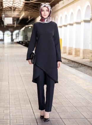 Unlined - Black - Crew neck - Crepe - Evening Suit
