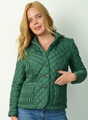 Green - Fully Lined - Point Collar - - Puffer Jackets