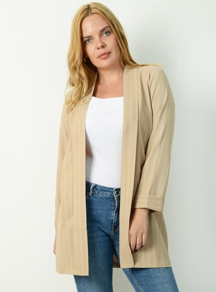 Beige - Stripe - Fully Lined -  - Jacket