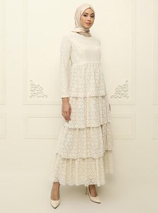 Cream - Fully Lined - Muslim Evening Dress