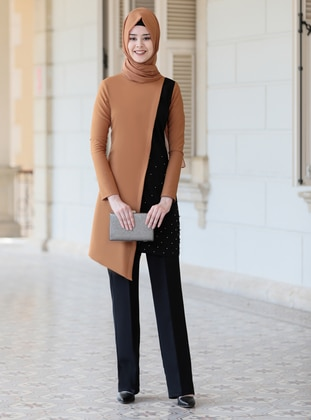 Unlined - Camel - Black - Crew neck - Evening Suit