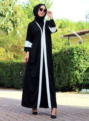 White - Black - Unlined - V neck Collar - Abaya