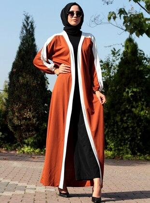White - Terra Cotta - Unlined - V neck Collar - Abaya