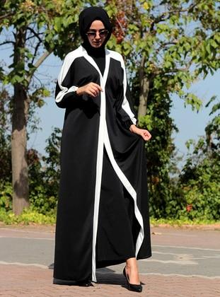 White - Black - Unlined - V neck Collar - Abaya - DUHA BY MELEK AYDIN