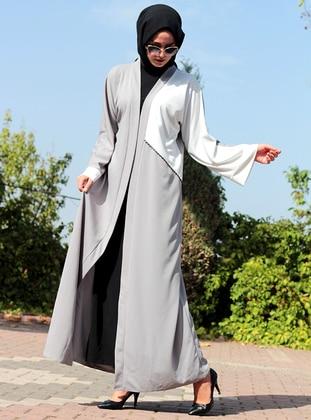 White - Gray - Unlined - V neck Collar - Abaya - DUHA BY MELEK AYDIN