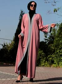 Black - Pink - Unlined - V neck Collar - Abaya