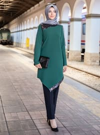 Unlined - Emerald - Crew neck - Crepe - Evening Suit